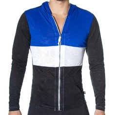 SKINNY Core Zuma Hoodie by Andrew Christian in Black/Royal