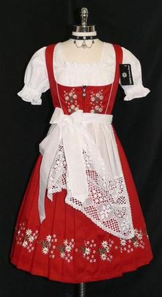 NEW ~ 3pc LONG RED German Party Waitress Hostess Oktoberfest DIRNDL Dress 38 8 S | eBay