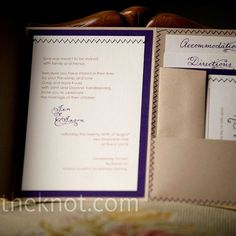"Jen and her sister, Robyn, made all of the wedding stationery. Robyn created a ""Jen and Jason"" logo that appeared on many of the stationery elements. For the invitations, Jen created a pocket fold by sewing the paper with a zig zag stitch."