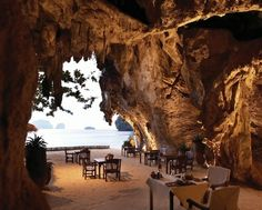 Life's a beach at the Rayavadee Hotel, Thailand.  Or a cave. Either way, it looks pretty good to us.