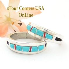 Turquoise Red Coral Inlay Ring Navajo Wilbert Muskett Jr Four Corners USA OnLine Native American Jewelry