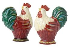 Clay Art Rooster Salt and Pepper by Clay Art. $14.99. Ceramicware. Salt and Pepper Shaker. Farm Designs. Dishwasher and Microwave safe. Dinnerware piece that is perfect for everyday use or for entertaining guests.