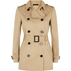Jaeger Jaeger Double-Breasted Trench Coat ($230) ❤ liked on Polyvore featuring outerwear, coats, jackets, casacos, brown double breasted coat, double-breasted trench coats, brown trench coat, jaeger coats and brown coat