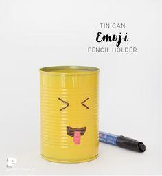 Make Emoji Tin Can Pencil Holders - Pysselbolaget - Fun Easy ...