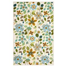Add a splash of spring style to your living room, porch, or patio with this hand-hooked rug, showcasing a floral motif in ivory and green.  ...