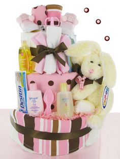 Neapolitan Baby Diaper Cake from Baby Gifts and Gift Baskets #diapercake $84 #babyshower