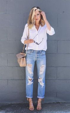 The final look in my trifecta of spring Boden outfits. Boyfriend Jeans Heels, Jeans With Heels, Mom Jeans, Nyc Fashion, Fashion Outfits, Fashion 2016, Fashion Beauty, Casual Outfits, Summer Outfits