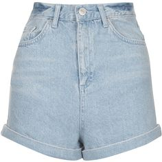 TOPSHOP MOTO Bleach Turn-Up Mom Shorts (1 500 UAH) ❤ liked on Polyvore featuring shorts, bottoms, short, topshop, bleach stone, topshop shorts, short shorts, bleached denim shorts and bleached shorts