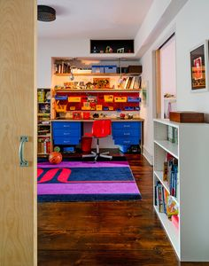 Kids room at Mike D's Brooklyn home, from NYTimes.com. Desk by Pollard Brothers Manufacturing. Rug by Pierre Cardin. image - Trevor Tondro