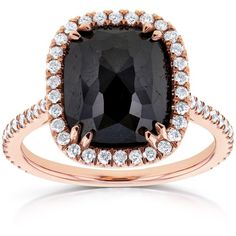 Cushion Black and White Diamond Halo Ring 4 3/5 TCW IN 14k Rose Gold ($2,570) ❤ liked on Polyvore featuring jewelry, rings, pink gold ring, 14k rose gold ring, red gold ring, cushion cut ring and black and white ring