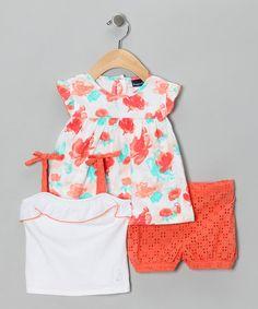 Love this Orange Eyelet Shorts Set - Infant by Rugged Bear on #zulily! #zulilyfinds