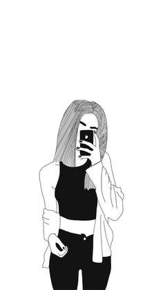 Tumblr Girl Drawing, Girl Drawing Sketches, Cute Girl Drawing, Cartoon Girl Drawing, Girl Sketch, Art Drawings Sketches Simple, Cartoon Drawings, Easy Drawings, Hipster Girl Drawing