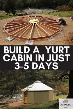 If you're looking for an affordable structure you can build yourself in just a few days, then this is for you! Yurt cabins are modern and unique designs for full-timing living, vacation rentals, home offices, retreat centers and much more! Tiny House Cabin, Tiny House Plans, Tiny House Design, Cabin Homes, Building A Yurt, Building A House, Earthship, Yurt Home, Diy Cabin