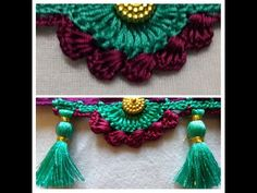 Bridal Saree Kuchu worth 600-700 - YouTube Saree Tassels Designs, Saree Kuchu Designs, Bridal Blouse Designs, Crochet Edging Patterns, Crochet Borders, Hand Embroidery Stitches, English Vocabulary, Chrochet, Shiva