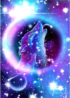 Galaxy wolf Wolf wallpaper Wolf poster Wolf painting