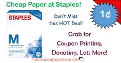 CHEAP Paper @ Staples! Only $0.01 for a ream of paper! Perfect for all those coupon prints and anything else you need to print! Keep your stock pile going!   Click the link below to get all of the details ► http://www.thecouponingcouple.com/cheap-paper-staples-0-01ream-after-deal/ #Coupons #Couponing #CouponCommunity  Visit us at http://www.thecouponingcouple.com for more great posts!