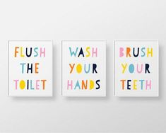 Bathroom Decor signs Set of 3 Printables - Bathroom Rules Pastel Unisex - rainbow kids bathroom decor, flush toilet, wash Kids Bathroom Art, Mold In Bathroom, Bathroom Rules, Bathroom Plants, Family Bathroom, White Bathroom, Pastel Bathroom, Kids Bathroom Organization, Kid Bathrooms