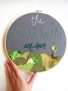 Family Sign Embroidery Hoop Art Custom Family Established Personalized Sign Family Tree Grey Green Nursery Art House Warming Wedding Gift. $50.00, via Etsy.