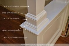 how to build pony walls with columns - 51 Interior Columns, Interior Trim, Interior Design, Moldings And Trim, Moulding, Crown Molding, Pony Wall, Half Walls, Basement Remodeling