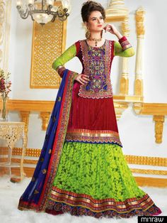 A colorful designer lehenga ideal for the Bride for her most important day of her life.