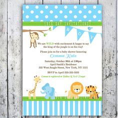 Safari Baby Shower Invitations, Jungle Animal Theme, Printable Invite for Boy or Girl Birthday too. $12.49, via Etsy. baby-shower-animal-theme