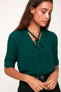 0961c42e Lulus | Style Education Dark Green Blouse | Size X-Small | 100% Polyester