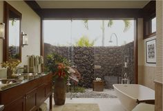 Outdoor shower, inviting