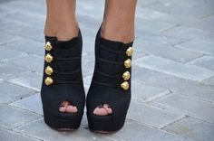 Black and gold adorable ankle boots