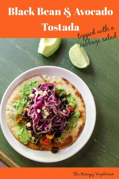 Black beans sauteed with bell peppers are heaped on avocado and topped with a cabbage salad. #TostadaRecipe #TostadasMexicanas #MexicanTostada #VegetarianTostadas #MexicanFood #MexicanFoodRecipes Tostada Recipes, Salad Recipes, Diet Recipes, Meatless Recipes, Healthy Recipes, Healthy Food, Authentic Mexican Recipes, Mexican Food Recipes, Tostadas