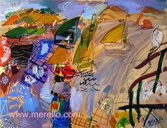"NAVEGANDO LA NOCHE.  Jose Manuel Merello.- ""Veleros en la noche"" (73 x 92cm)   CONTEMPORARY ART 21st. http://www.merello.com"
