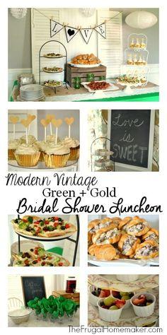 Modern Vintage Green + Gold Bridal shower