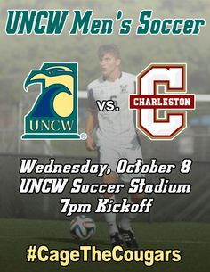 One more day until another big match for @UNCWMenssoccer. Show your support Wednesday and help us #CageTheCougars.