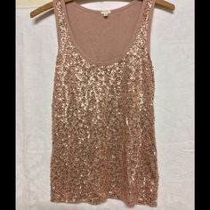 J Crew sequin tank XS NWOT XS, taupe pink, never worn, sequin on both sides!!☺️ J. Crew Tops Tank Tops