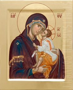 This painted Tenderness icon of the Mother of God was consecrated in St Elisabeth Convent. We paint Orthodox icons to order Byzantine Icons, Byzantine Art, Church Icon, Blessed Mother Mary, Best Icons, Madonna And Child, Catholic Prayers, Art Icon, Orthodox Icons