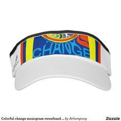 Colorful change monogram sweatband art design visor