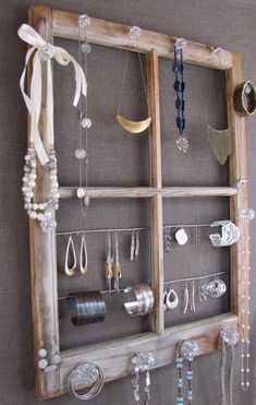 Repurposed Window Pane Jewelry Display... ~ super cute I have to old window panes may do something like this ~ E by Stacie Houchin