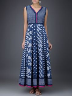 Buy Indigo White Pink Dabu Printed Layered Cotton Dress Women Dresses Gulaab E Neel tops kurtas pants and more Online at Jaypore.com
