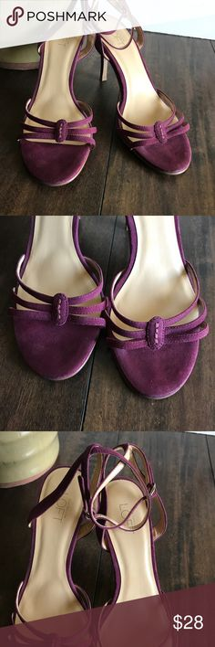 Ann Taylor Loft Suede Leather Strappy Sandals Ann Taylor Loft Purple Leather Strappy Sandals  Rounded Toe  Leather Upper  Balance Man Made  Heel Height 3-1/2  Size 6-1/2M Ann Taylor Loft Shoes Sandals