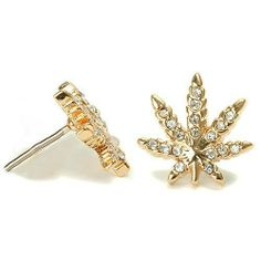 18k Gold Plated Finish Weed Marijuana Cannabis Clear Cz Stud Earrings Pushback THE ICE EMPIRE, http://www.amazon.com/dp/B00A8MYSXA/ref=cm_sw_r_pi_dp_E3Edrb0310EX8