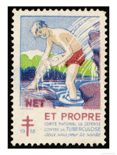 French Postage Stamp Promoting Bathing and Cleanliness to Fight Tuberculosis