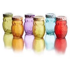 Owl Colors Set/6 Jars with Lid, 14 oz