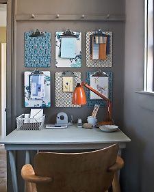 No bulletin board? No problem! Use decorative paper and Martha Stewart Crafts Decoupage to brighten up basic clipboards, and then hang several for a stylish organized wall! #marthastewartcrafts