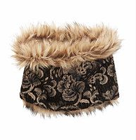 """Reversible Faux Fur Jacquard Popover - Worn to show off its floral jacquard side - or allover faux fur - we love how this must-have makes two looks in one. 8"""" x 24""""."""