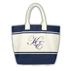 Shopping Bag blau mit Monogramm (Initialen KE)