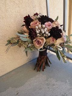 Amnesia Roses, Brunia, Eggplant Dahlias, and Seeded Eucalyptus - The Fleurist: Amnesia Rose Bouquet