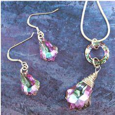 Sterling and Swarovski Crystal Bridal Set by ChainedByLightness, $100.00