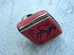Sterling+Silver+Red+Coral+Horse+RIng+by+HawkandSparrowOnline,+$270.00