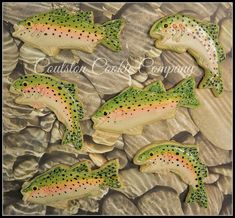 Hand-Painted Trout Cookies by Coulston Cookie Company, posted on. Best Picture For Sealife Tattoos Fish Cookies, Fancy Cookies, Iced Cookies, Cut Out Cookies, Cute Cookies, Royal Icing Cookies, Sugar Cookies, Paint Cookies, Cookie Company