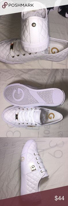 (6.5) G by Guess Byrone Quilted Lace-Up Sneaker White/Gold women's quilted G By Guess sneaker. NEW, condition 10/10. Also have women's Fila Sneakers in my closet, bundle and make an offer. Guess Shoes