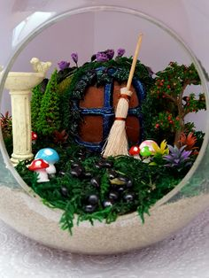 Hobbit House  An adorable miniature garden created in a 15 cm Bubble Planter. All products from our online store: terrificterrariumsandfairygardens.co.nz